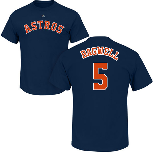MLB Nike Houston Astros #5 Jeff Bagwell Navy Blue Name & Number T-Shirt