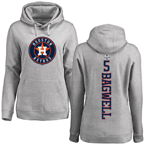 MLB Women's Nike Houston Astros #5 Jeff Bagwell Ash Backer Pullover Hoodie