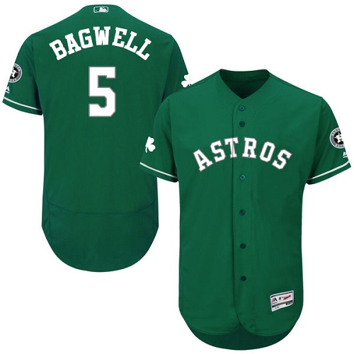 Men's Majestic Houston Astros #5 Jeff Bagwell Green Celtic Flexbase Authentic Collection MLB Jersey
