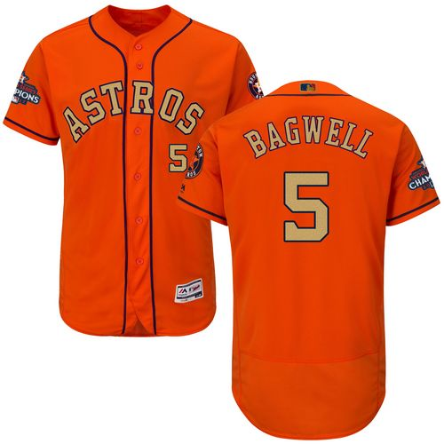Men's Majestic Houston Astros #5 Jeff Bagwell Orange Alternate 2018 Gold Program Flex Base Authentic Collection MLB Jersey