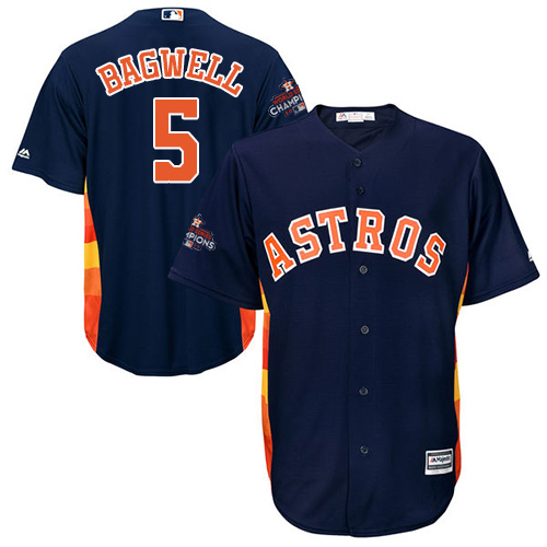 Men's Majestic Houston Astros #5 Jeff Bagwell Replica Navy Blue Alternate 2017 World Series Champions Cool Base MLB Jersey