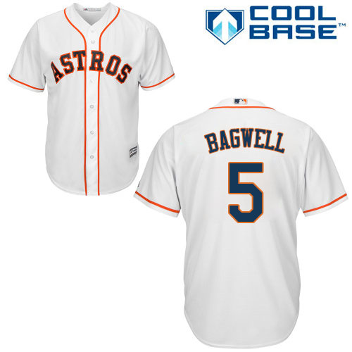Men's Majestic Houston Astros #5 Jeff Bagwell Replica White Home Cool Base MLB Jersey