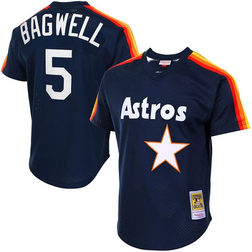 Men's Mitchell and Ness 1988 Houston Astros #5 Jeff Bagwell Replica Navy Blue Throwback MLB Jersey