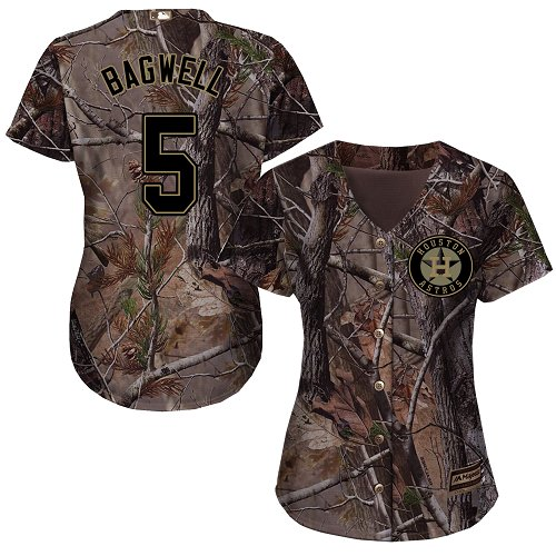 Women's Majestic Houston Astros #5 Jeff Bagwell Authentic Camo Realtree Collection Flex Base MLB Jersey
