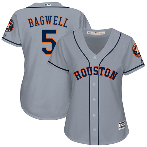 Women's Majestic Houston Astros #5 Jeff Bagwell Authentic Grey Road Cool Base MLB Jersey