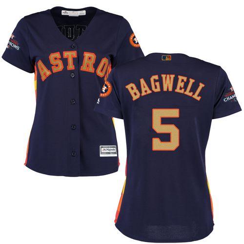 Women's Majestic Houston Astros #5 Jeff Bagwell Authentic Navy Blue Alternate 2018 Gold Program Cool Base MLB Jersey