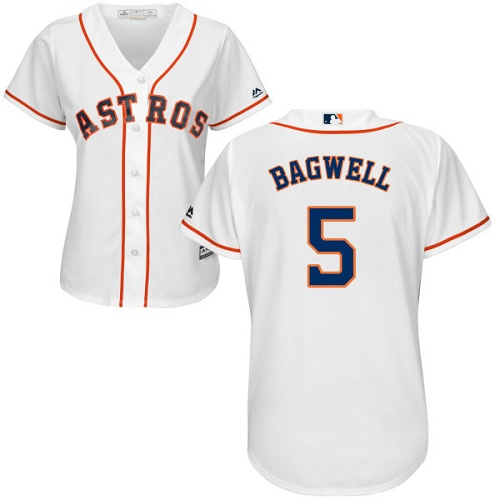 Women's Majestic Houston Astros #5 Jeff Bagwell Authentic White Home Cool Base MLB Jersey