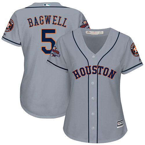 Women's Majestic Houston Astros #5 Jeff Bagwell Replica Grey Road 2017 World Series Champions Cool Base MLB Jersey