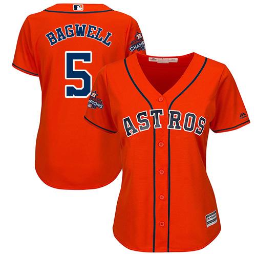 Women's Majestic Houston Astros #5 Jeff Bagwell Replica Orange Alternate 2017 World Series Champions Cool Base MLB Jersey