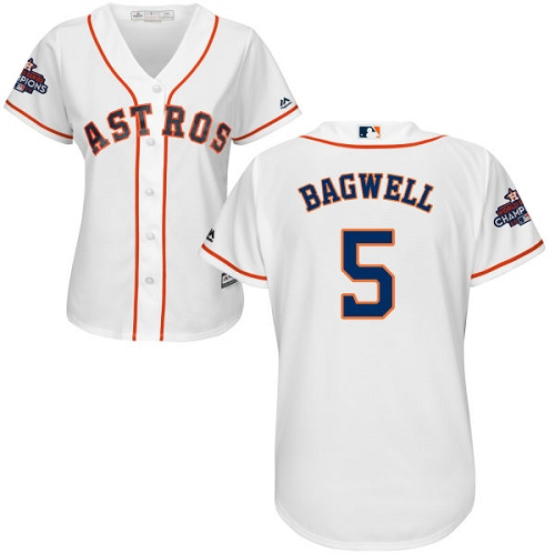 Women's Majestic Houston Astros #5 Jeff Bagwell Replica White Home 2017 World Series Champions Cool Base MLB Jersey