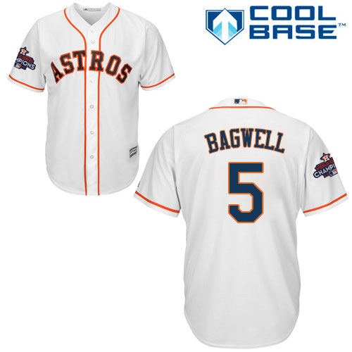 Youth Majestic Houston Astros #5 Jeff Bagwell Replica White Home 2017 World Series Champions Cool Base MLB Jersey