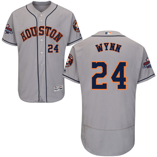 Men's Majestic Houston Astros #24 Jimmy Wynn Authentic Grey Road 2017 World Series Champions Flex Base MLB Jersey
