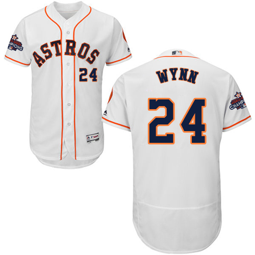 Men's Majestic Houston Astros #24 Jimmy Wynn Authentic White Home 2017 World Series Champions Flex Base MLB Jersey
