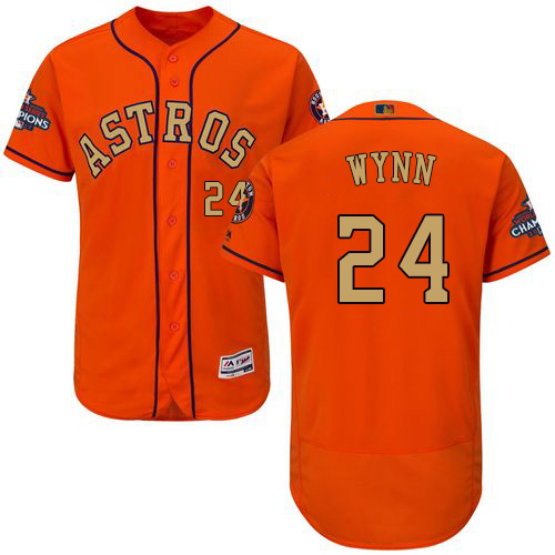 Men's Majestic Houston Astros #24 Jimmy Wynn Orange Alternate 2018 Gold Program Flex Base Authentic Collection MLB Jersey