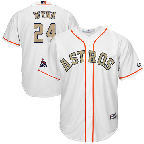 Men's Majestic Houston Astros #24 Jimmy Wynn Replica White 2018 Gold Program Cool Base MLB Jersey