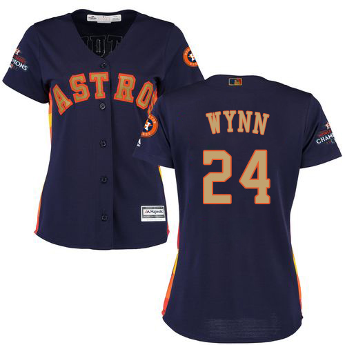 Women's Majestic Houston Astros #24 Jimmy Wynn Authentic Navy Blue Alternate 2018 Gold Program Cool Base MLB Jersey