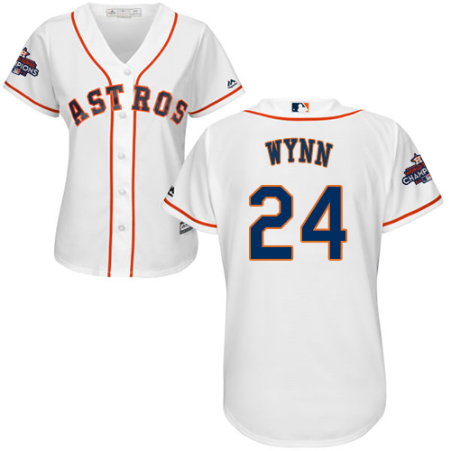 Women's Majestic Houston Astros #24 Jimmy Wynn Replica White Home 2017 World Series Champions Cool Base MLB Jersey