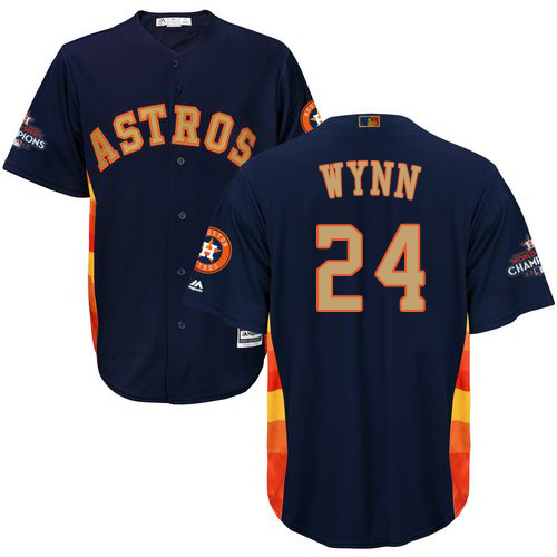 Youth Majestic Houston Astros #24 Jimmy Wynn Authentic Navy Blue Alternate 2018 Gold Program Cool Base MLB Jersey