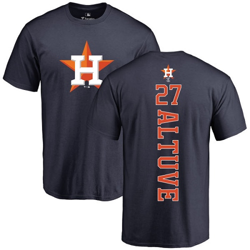 MLB Nike Houston Astros #27 Jose Altuve Navy Blue Backer T-Shirt