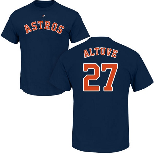MLB Nike Houston Astros #27 Jose Altuve Navy Blue Name & Number T-Shirt