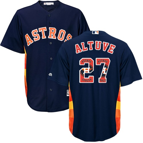 Men's Majestic Houston Astros #27 Jose Altuve Authentic Navy Blue Team Logo Fashion Cool Base MLB Jersey