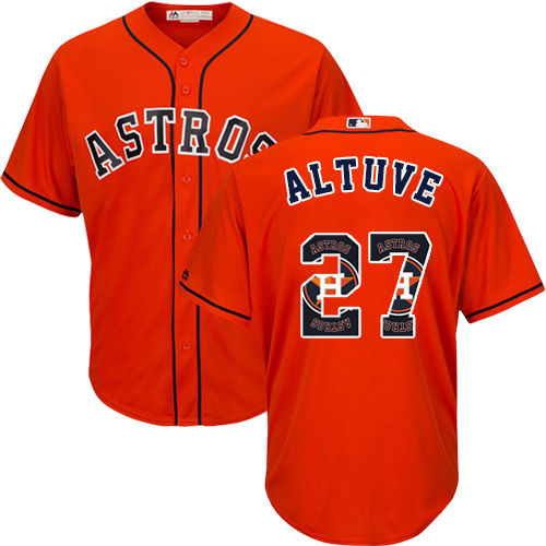 Men's Majestic Houston Astros #27 Jose Altuve Authentic Orange Team Logo Fashion Cool Base MLB Jersey