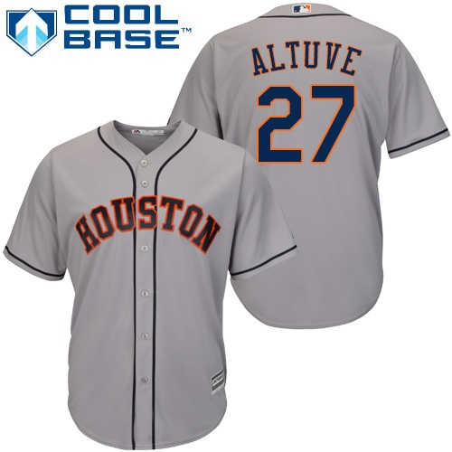 Men's Majestic Houston Astros #27 Jose Altuve Replica Grey Road Cool Base MLB Jersey