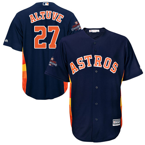 Men's Majestic Houston Astros #27 Jose Altuve Replica Navy Blue Alternate 2017 World Series Champions Cool Base MLB Jersey