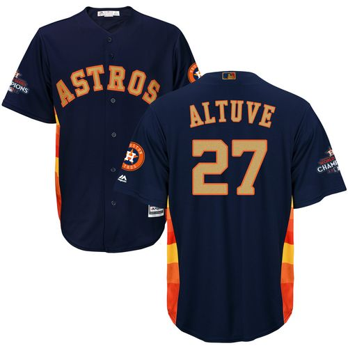 Men's Majestic Houston Astros #27 Jose Altuve Replica Navy Blue Alternate 2018 Gold Program Cool Base MLB Jersey