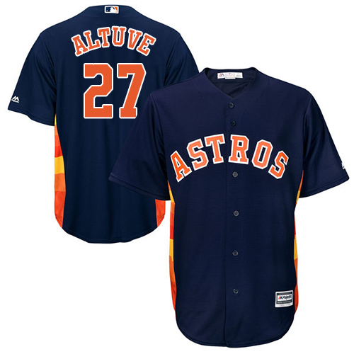 Men's Majestic Houston Astros #27 Jose Altuve Replica Navy Blue Alternate Cool Base MLB Jersey
