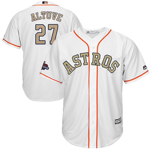 Men's Majestic Houston Astros #27 Jose Altuve Replica White 2018 Gold Program Cool Base MLB Jersey