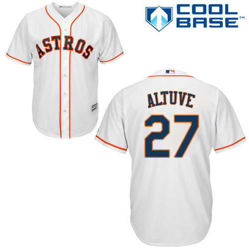 Men's Majestic Houston Astros #27 Jose Altuve Replica White Home Cool Base MLB Jersey
