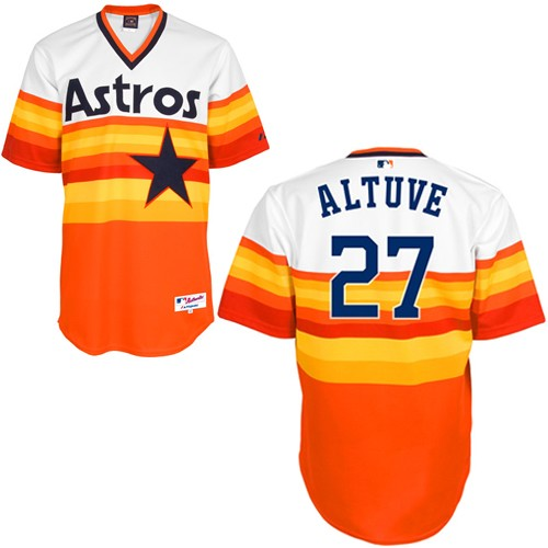 Men's Majestic Houston Astros #27 Jose Altuve Replica White/Orange 1979 Turn Back The Clock MLB Jersey