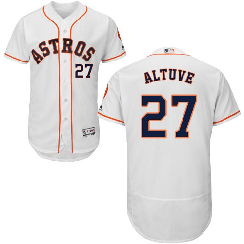 Men's Majestic Houston Astros #27 Jose Altuve White Home Flex Base Authentic Collection MLB Jersey