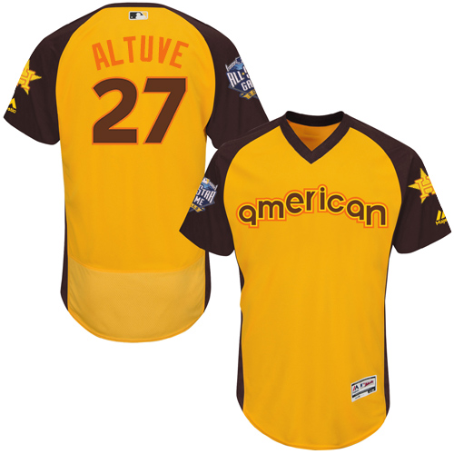 Men's Majestic Houston Astros #27 Jose Altuve Yellow 2016 All-Star American League BP Authentic Collection Flex Base MLB Jersey