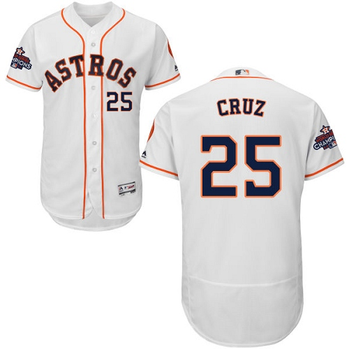 Men's Majestic Houston Astros #25 Jose Cruz Jr. Authentic White Home 2017 World Series Champions Flex Base MLB Jersey