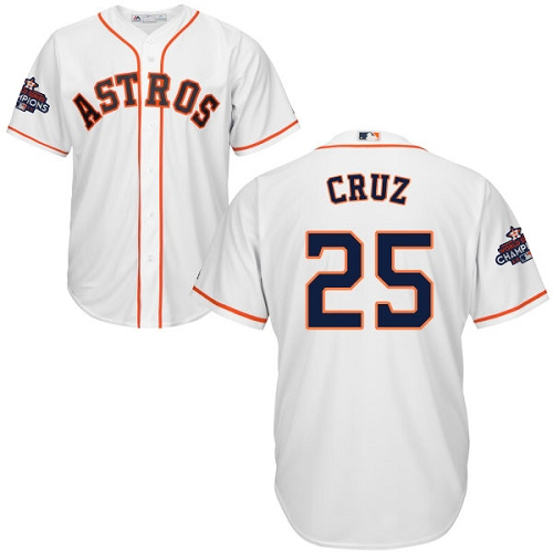 Men's Majestic Houston Astros #25 Jose Cruz Jr. Replica White Home 2017 World Series Champions Cool Base MLB Jersey