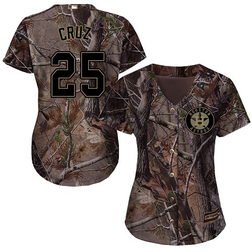 Women's Majestic Houston Astros #25 Jose Cruz Jr. Authentic Camo Realtree Collection Flex Base MLB Jersey