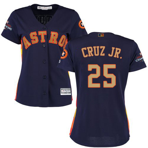 Women's Majestic Houston Astros #25 Jose Cruz Jr. Authentic Navy Blue Alternate 2018 Gold Program Cool Base MLB Jersey