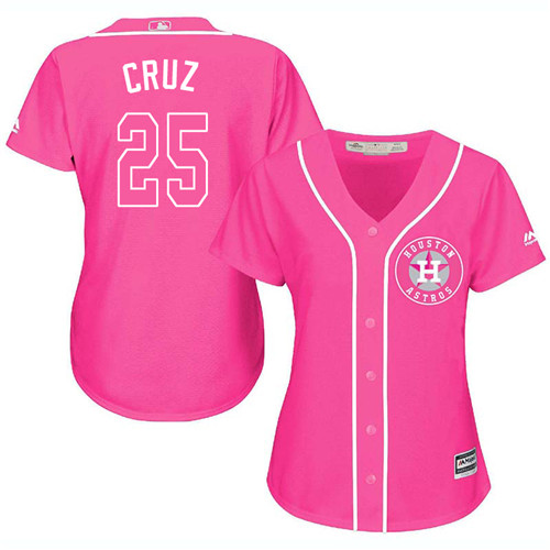 Women's Majestic Houston Astros #25 Jose Cruz Jr. Authentic Pink Fashion Cool Base MLB Jersey