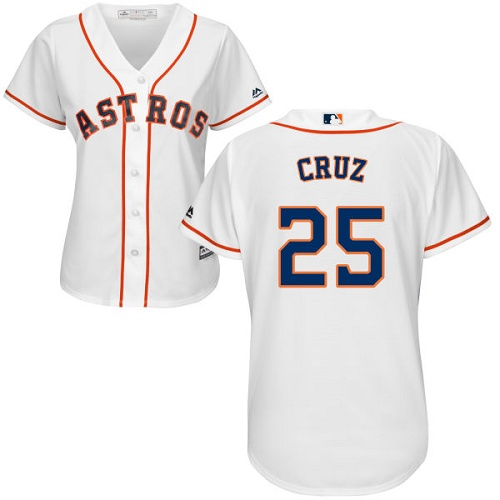 Women's Majestic Houston Astros #25 Jose Cruz Jr. Authentic White Home Cool Base MLB Jersey