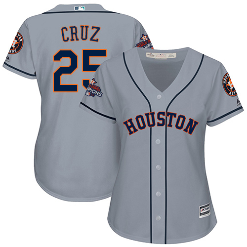 Women's Majestic Houston Astros #25 Jose Cruz Jr. Replica Grey Road 2017 World Series Champions Cool Base MLB Jersey