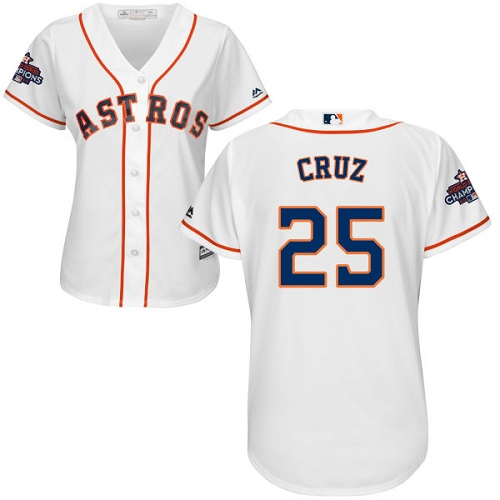 Women's Majestic Houston Astros #25 Jose Cruz Jr. Replica White Home 2017 World Series Champions Cool Base MLB Jersey