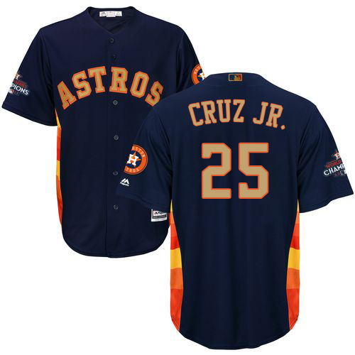 Youth Majestic Houston Astros #25 Jose Cruz Jr. Authentic Navy Blue Alternate 2018 Gold Program Cool Base MLB Jersey