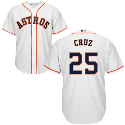 Youth Majestic Houston Astros #25 Jose Cruz Jr. Authentic White Home Cool Base MLB Jersey
