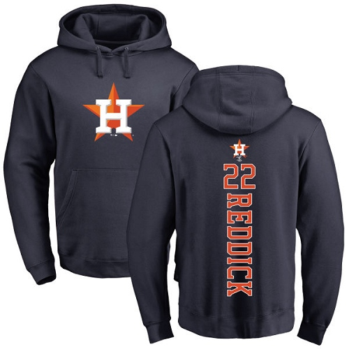 MLB Nike Houston Astros #22 Josh Reddick Navy Blue Backer Pullover Hoodie