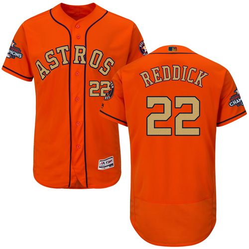 Men's Majestic Houston Astros #22 Josh Reddick Orange Alternate 2018 Gold Program Flex Base Authentic Collection MLB Jersey