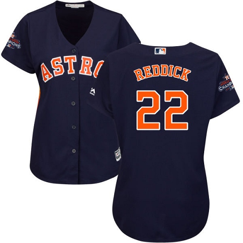 Women's Majestic Houston Astros #22 Josh Reddick Authentic Navy Blue Alternate 2017 World Series Champions Cool Base MLB Jersey