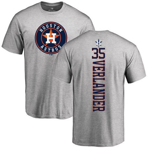 MLB Nike Houston Astros #35 Justin Verlander Ash Backer T-Shirt