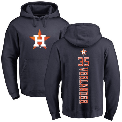 MLB Nike Houston Astros #35 Justin Verlander Navy Blue Backer Pullover Hoodie